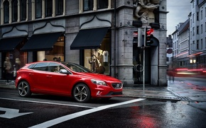 Picture Red, Home, Volvo, Street, Shop, V40