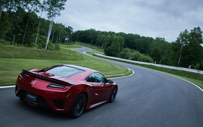 Wallpaper supercar, road, trees, Honda, trees, machine, road, turn, NSX