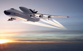 Picture Sunset, The sky, Clouds, Horizon, Flight, Buran, Mriya, The an-225, The plane