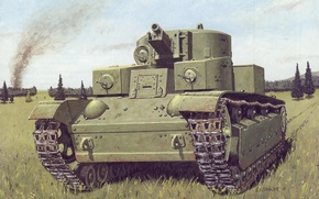 Picture art, trail, average, Soviet, figure, tank, field, T-28