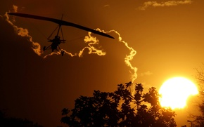 Picture Sunset, The sun, The sky, Clouds, Trees, hang
