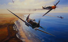 Picture aircraft, war, art, airplane, painting, aviation, drawing, ww2, dogfight, battle of britain, supermarine spifire, messerschmitt …