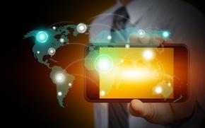 Picture continents, Internet, link, hi-tech, smartphone