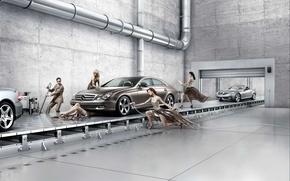 Picture girls, repair, cars, Mercedes, car service