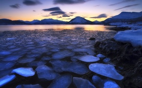 Picture ice, the sky, clouds, sunset, mountains, lake