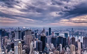 Picture the sky, clouds, the city, building, home, New York, skyscrapers, the evening, panorama, USA, USA, ...