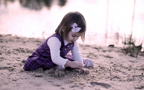 Picture sand, mood, girl, child