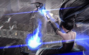 Picture the city, gun, weapons, girls, rain, home, anime, art, black rock shooter, catch the worm, ...