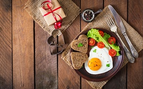 Wallpaper egg, Board, gift, bread, egg, spices, Breakfast, Tomatoes, serving, bread, scrambled eggs, salad, romance, plug, ...