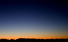 Wallpaper mountains, the moon, Sunset, the evening
