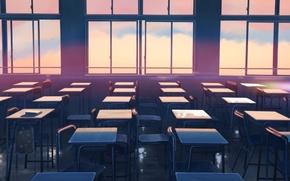 Picture Sunset, Windows, Windows, Anime, Makoto Xingkai, Anime, Sunset, Class, Chairs, Chairs, Class, The Garden Of …