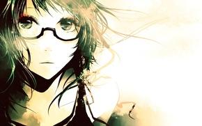 Wallpaper eyes, girl, face, glasses, Anime, vocaloid, gumi
