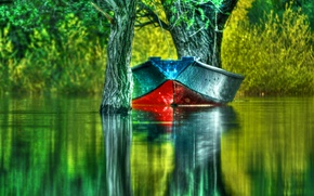 Picture green, forest, landscape, lake, boat, boating, hdri
