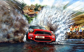 Picture squirt, Water, Red, Figure, Mini Cooper, WRC, Rally, MINI, Mini Cooper