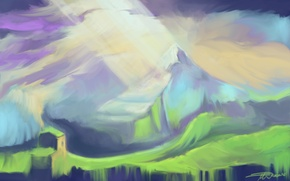 Picture light, mountains, house, art, painted landscape, Snowmarite
