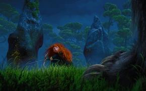 Picture forest, trees, cartoon, the evening, Scotland, warrior, Archer, Disney, forest, Pixar, Pixar, Princess, red hair, …