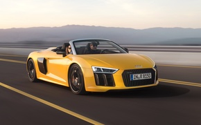 Picture Audi, Yellow, Convertible, Spyder, V10, 2016, Metallic