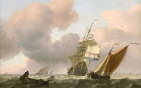 Wallpaper picture, Ludolf Bakhuizen, seascape, Rough Sea with Ships