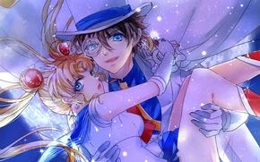 Picture girl, anime, art, guy, crossover, sailor moon, tsukino usagi, magic kaito, kaitou kid
