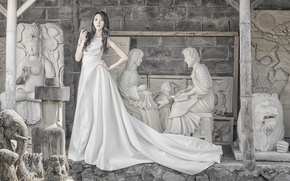 Picture girl, style, dress, Asian, sculpture