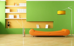 Picture style, vases, room, sofa, minimalism, interior, lamp, orange, design