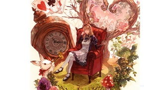Picture card, cat, leaves, watch, chair, mushroom, rabbit, pipe, white background, apron, alice in wonderland, Daisy