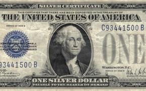 Wallpaper Dollar, silver, blue, Washington You, one