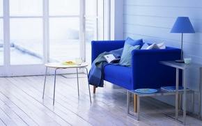 Picture style, sofa, mug, room, interior, apartment, milk, plate, book, chair, blue, table, window, Cup, lamp, ...