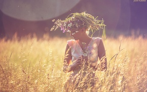 Picture field, summer, girl, beauty, wreath, photographer, Josef Kadela