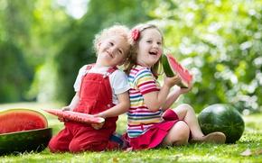 Picture summer, smile, child, watermelon, girl, summer, little, child, Watermelons