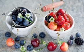 Picture summer, berries, blueberries, dishes, cherry, BlackBerry, Anna Verdina