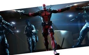 Picture guns, mask, hero, costume, soldiers, villain, mercenary, machines, deadpool, marvel comics, wade wilson