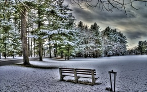 Picture winter, the sky, clouds, snow, landscape, nature