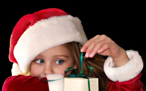 Picture look, wallpapers, holiday, children, gift, Wallpaper, blue, red, girl, christmas, background, year, hat, new year, ...