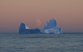 Wallpaper the evening, iceberg, Antarctica, pale moon, the Pacific sector of the southern ocean, the Ross ...
