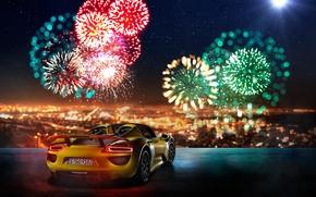 Wallpaper Fireworks, Rear, Supercar, Yellow, Porsche, 918