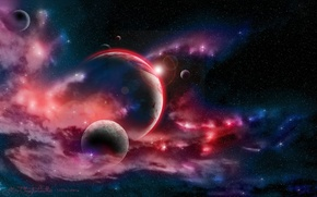 Picture space, stars, nebula, planet