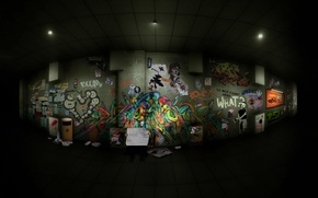 Picture labels, collage, graffiti, corridor, drawings, the transition