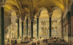 Picture interior, mosque, Museum, Istanbul, Turkey, Hagia Sophia, , While Agia Sophia