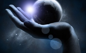 Wallpaper Earth, Hand, The universe