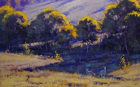 Picture grass, trees, nature, hills, art, kangaroo, Australia, artsaus