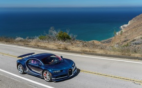 Wallpaper road, sea, car, auto, Bugatti, road, sea, Chiron