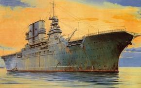 Wallpaper USS Saratoga (CV-3), figure, the US Navy aircraft carrier, ship