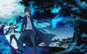 Wallpaper art, brothers, Blue exorcist, Rin, Rin, blue flame, ao no exorcist, Yukio, blue exorcist