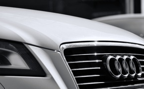 Picture glare, Audi, black and white, ring, headlight, grille, white, chrome, radiator, monochrome, s line