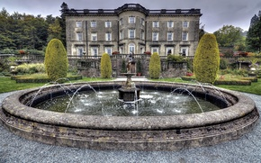 Picture trees, design, UK, fountain, mansion, the bushes, Palace, Cumbria, Rydal Hall
