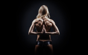 Picture muscles, blonde, hands, back, yoga