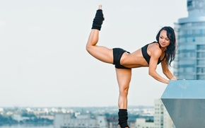 Wallpaper city, stretching exercises, yoga pose