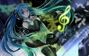 Picture girl, notes, feathers, headphones, art, vocaloid, hatsune miku, bow, treble clef, Vocaloid, mariwai, marireroy