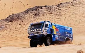 Picture sand, Blue, Machine, Truck, Red Bull, Kamaz, Rally, KAMAZ, Dakar, Dune, 505
